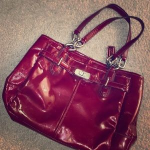 Red patten leather Coach bag